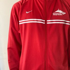 Nike red zip up jacket ~ Chicago marathon